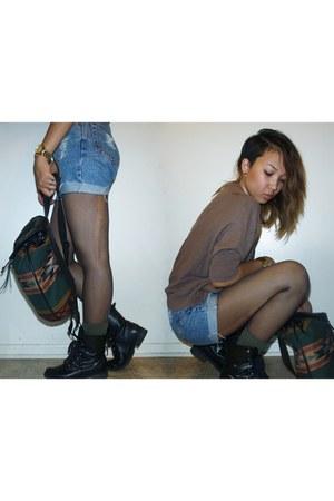 Black Combat Boots Boots Light Blue DIY Shorts | &quotcombat boots