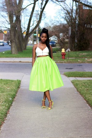 Chartreuse Midi Skirts, Lime Green Prabal Gurung Sandals, Off ...