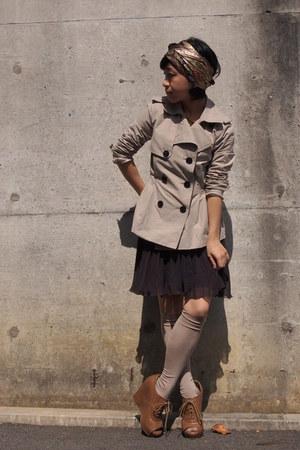 Brown Scarves Beige Trench Gap Coats Beige Knee High