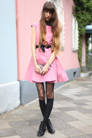 pink cos dresses black wolford tights teal anna sui