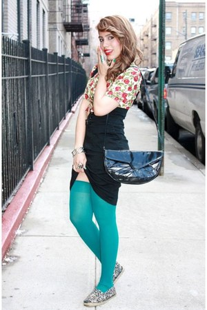 Teal Thigh Highs We Love Colors Tights, Black Forever 21 ...