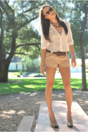 Cream Forever 21 Blouses Camel Express Shorts Tan