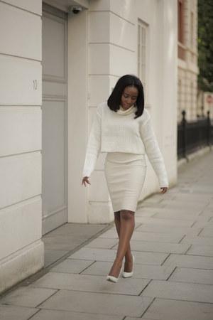 Cream Leather Skirt
