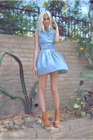 Bronze Wood Jeffrey Campbell Boots Light Blue Cuts Out