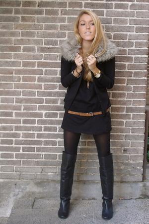 Black Diy Jackets Black Hakei Boots Black Zara Dresses