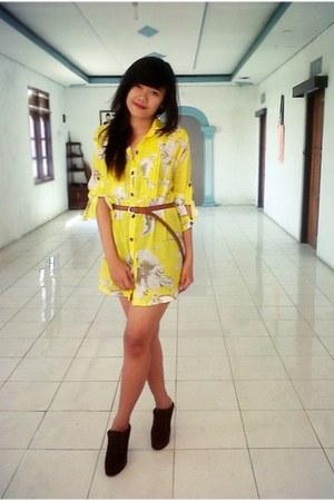 yellow mini dress dresses brown shoes brown belts