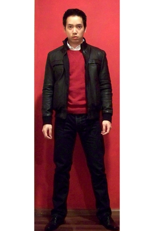 Men's Red Guess Sweaters, Blue Topshop Pants, Black Zara ...