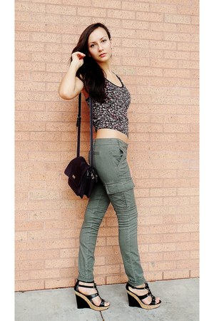 "Army Green Khaki Pants, Black Wedges | ""Imagine something"" by ..."