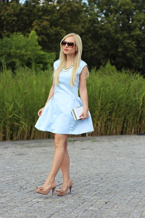 White Bags, Nude Shoes, Light Blue Dresses, Brown Sunglasses ...