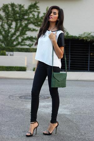 green messenger bag amy kathryn bags black strappy heels