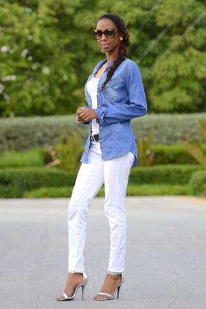 Blue Denim Shirt Shirts White Skinny Jeans Jeans Silver Sandals Heels | u0026quot;Double Denimu0026quot; by ...