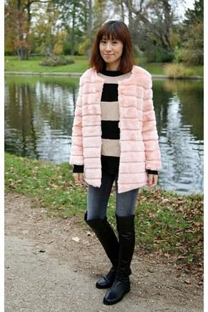 Pink Faux Fur Storets Coats, Black Over The Knee Stuart Weitzman ...