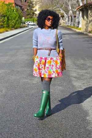 Green Hunter Rain Boots Carrot Orange Zara Dresses