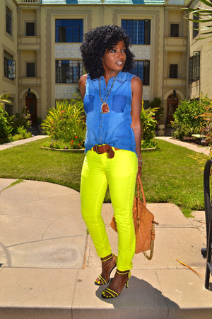 Yellow Neon Jeans Blue Sleeveless Denim Shirts