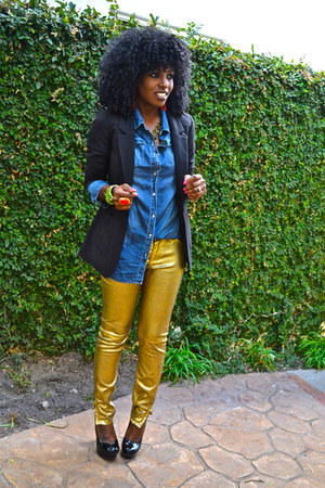 Blazers blue denim shirts quot gold pants quot by stylepantry chictopia
