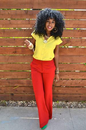 Red Mango Pants Yellow Romwe Shirts Chartreuse Zara