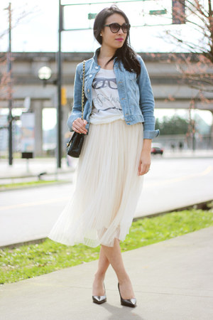 Ivory Tulle Ruche Skirts Light Blue Denim H Amp M Jackets