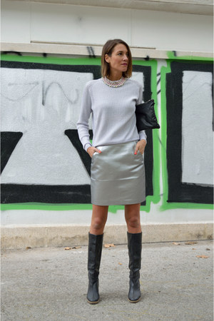 Silver Metallic H Amp M Skirts Black Knees High Boots