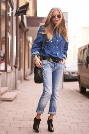 Blue Jeans Black Ankle Boots Blue Denim Vintage Shirts