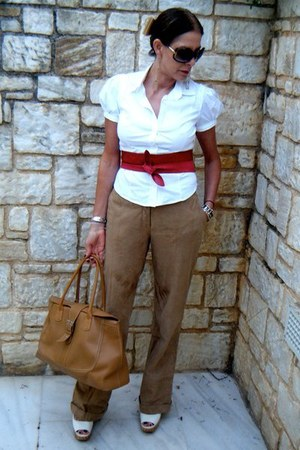 White Fitted Prada Shirts, Camel Leather Uterque Pants, Red Wrap ...