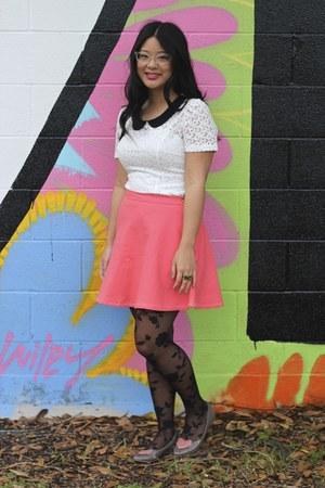 Bubble Gum Skirts White Dresses Black Tights Puce Flats