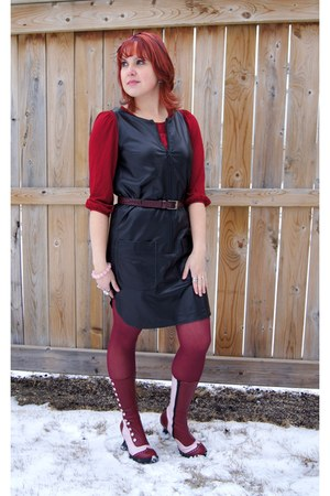 Light Pink Fluevog Boots Maroon Hue Tights Black Leather