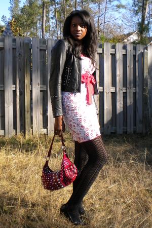 615213defb16f White Hot Topic Dresses, Black Wilsons Leather Jackets, Black Kohls Tights,  Reds |