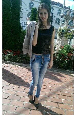 Blue Jeans Beige Gold Satin Blazers Black Sequin Top Tops Black Heels | u0026quot;1st Birthday Party ...