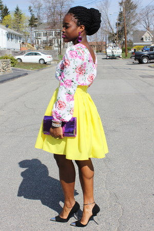 Neon Yellow Selves Made Skirts Floral Asos Tops Cap Toe #0: floral asos top neon yellow self made skirt cap toe bebe heels