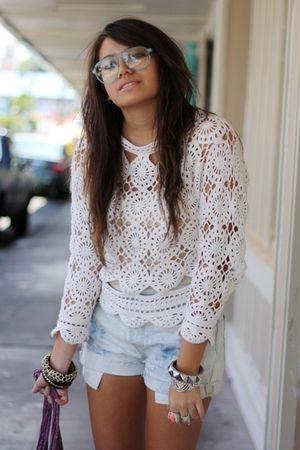 white crochet croquet club blouses brown wedge