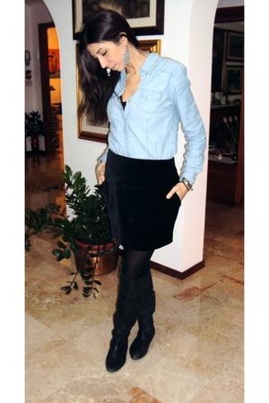 blue zara shirts black h m skirts black calzedonia