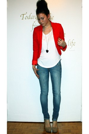 Blue Jeans, Ruby Red H&M Blazers, White Forever 21 Ts, Shirts ...
