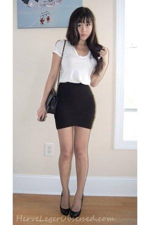 Black Chanel Bags Black Bcbg Skirts White Cotton Tee Ts