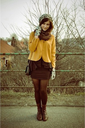 brown boots mustard jackets brown scarves