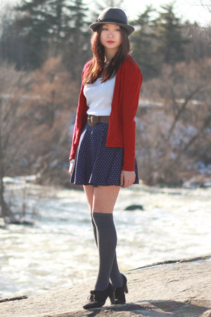 Gray Socks White Tops Navy Polka Dot Skirts Ruby Red