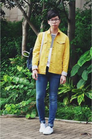 Men S White Superga Shoes Sky Blue H Amp M Jeans Yellow