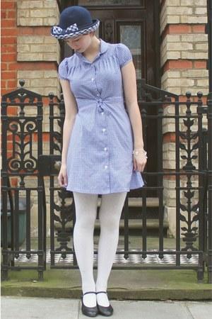 Blue Jumble Sale Dresses Blue Checked 1960s Vintage
