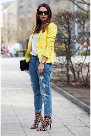Blue Zara Jeans Yellow Zara Blazers Black Leather Saint