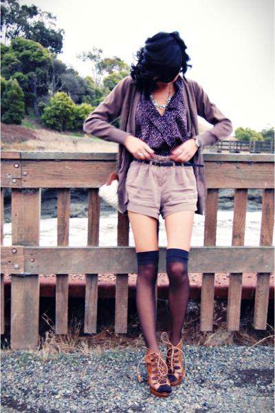 blue Forever21 jumper - camel Forever21 shorts - dark brown cardigan - tawny cha