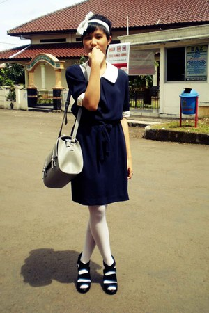 Navy Em Dresses White Stockings Black Heels Heather
