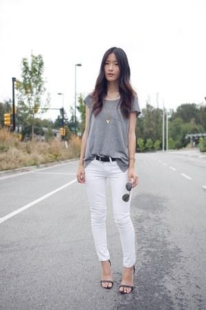 White jcrew jeans silver h m ts shirts black zara heels for Silver jeans t shirts