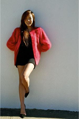 Red Angora Fur Vintage Cardigans Black Lacey Back