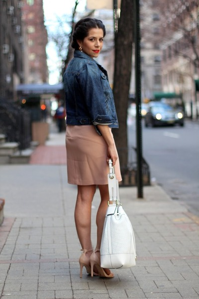 Blush Dress + Denim Jacket