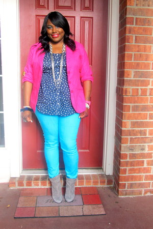 Hot Pink Metrostyle Blazers Turquoise Blue Skinny Forever 21 Jeans Color Blocking With Polka