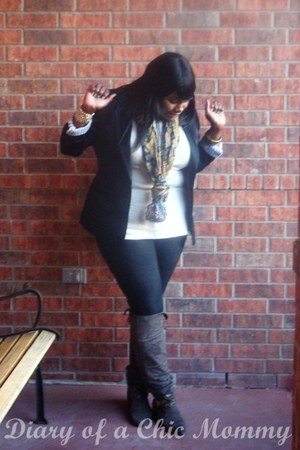 Dark Brown Dots Boots Black Ny Co Leggings Black Metrostyle Blazers Beige Bs What I Wore
