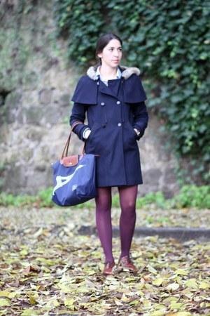 Navy wool comptoir des cotonniers coats burnt orange leather vintage shoes blue cape coat - Cape comptoir des cotonniers ...