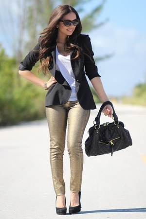 Black Zara Blazers, Gold MNG By Mango Jeans, White Forever ...
