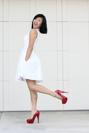 white dress club monaco dresses red steve madden heels