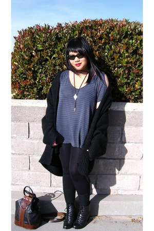 Gray Stripe Cuts, Out Sleeve Shirts, Black Oversized ...