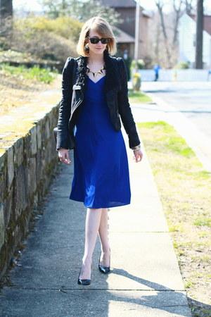 Blue Wrap Karen Zambos Dresses Black Romwe Jackets Black